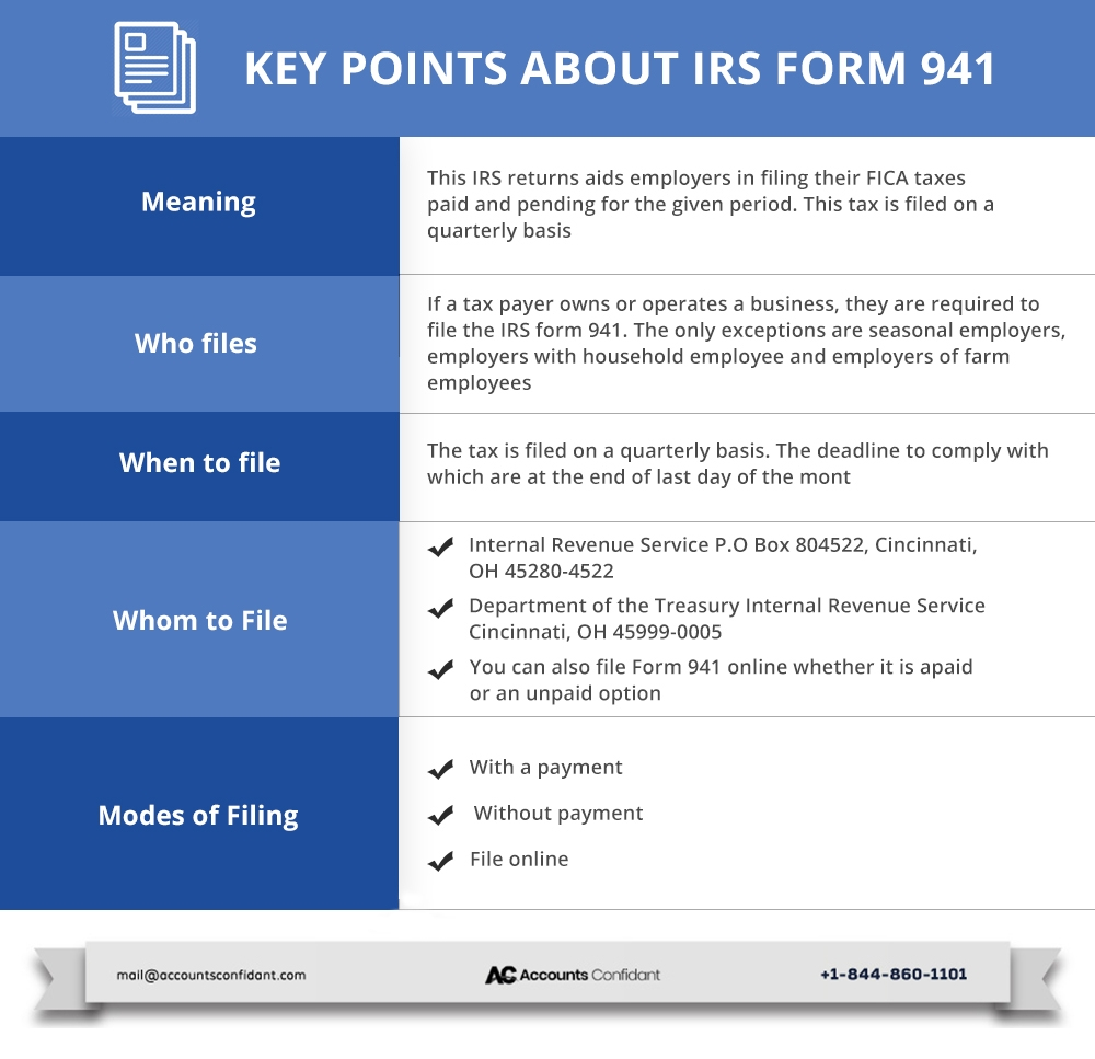 941 form online  IRS Form 13: Meaning, Instructions and Tips - AccountsConfidant